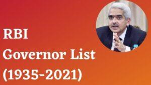 RBI Governor List PDF in Bengali